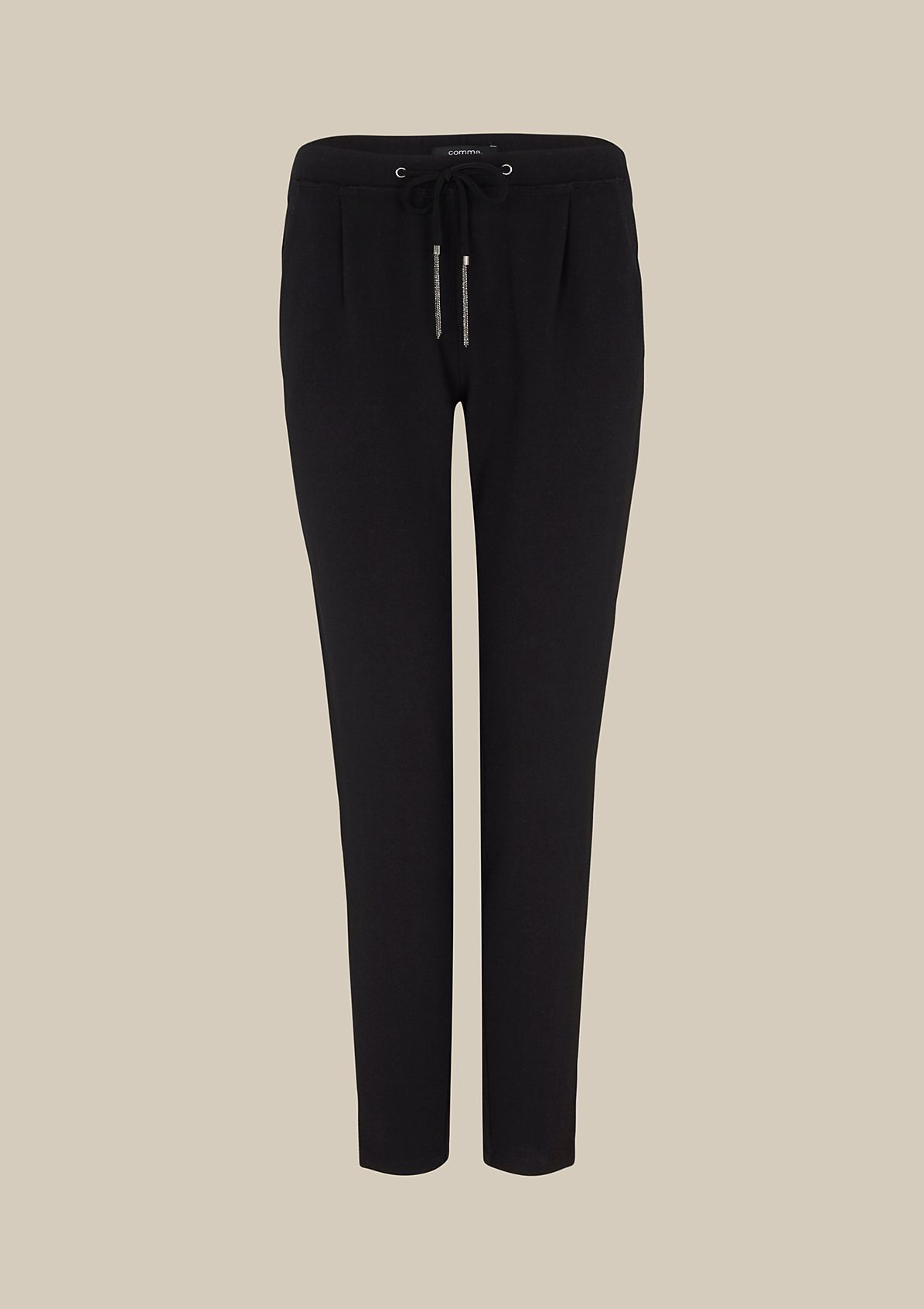 Elegant crêpe trousers with gemstones from s.Oliver