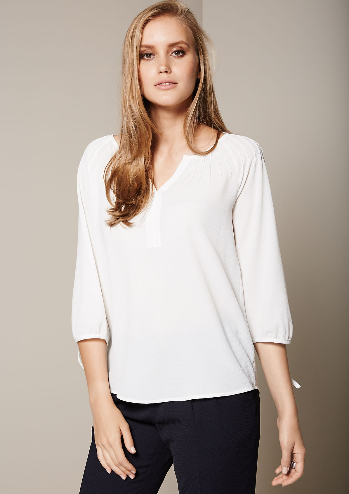 Lightweight blouse with 3/4-length sleeves and extensive pintucks from s.Oliver