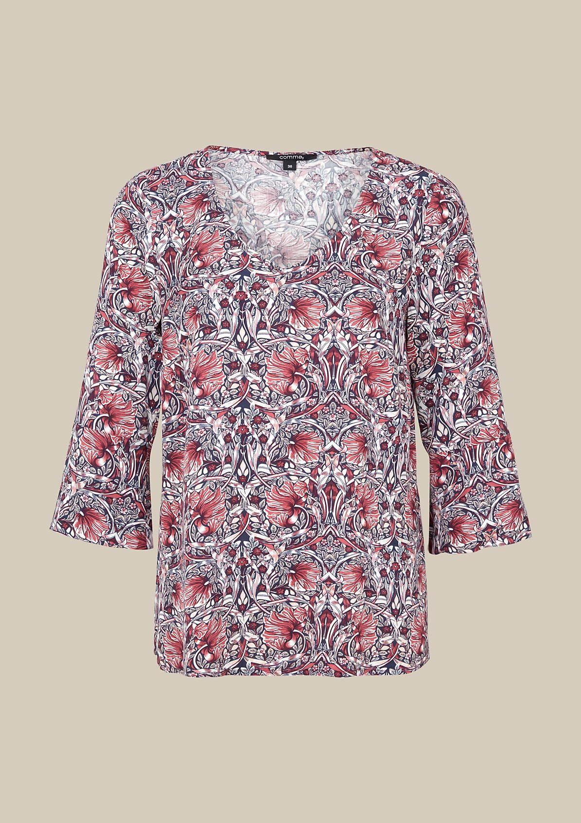 Edle 3/4-Arm Bluse mit dekorativem Allovermuster