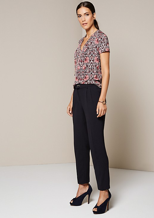 Soft short sleeve top with an elaborate all-over pattern from s.Oliver