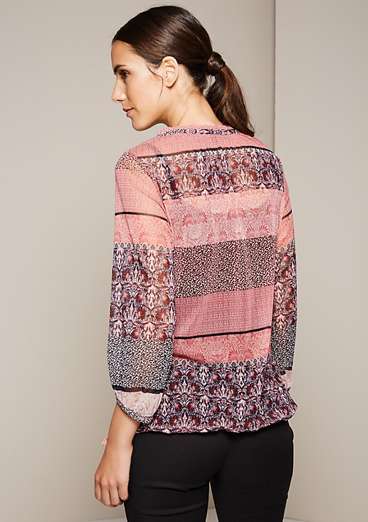 Delicate mesh top with a decorative mixed pattern and 3/4-length sleeves from s.Oliver