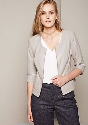 Glamorous short blazer in soft imitation leather with 3/4-length sleeves from comma