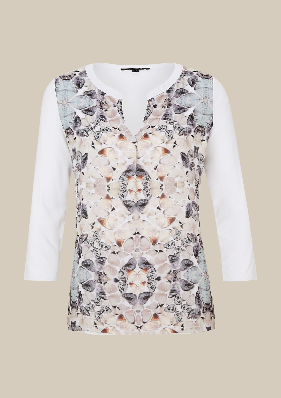 Sophisticated top in an beautiful mix of fabrics with 3/4-length sleeves from comma