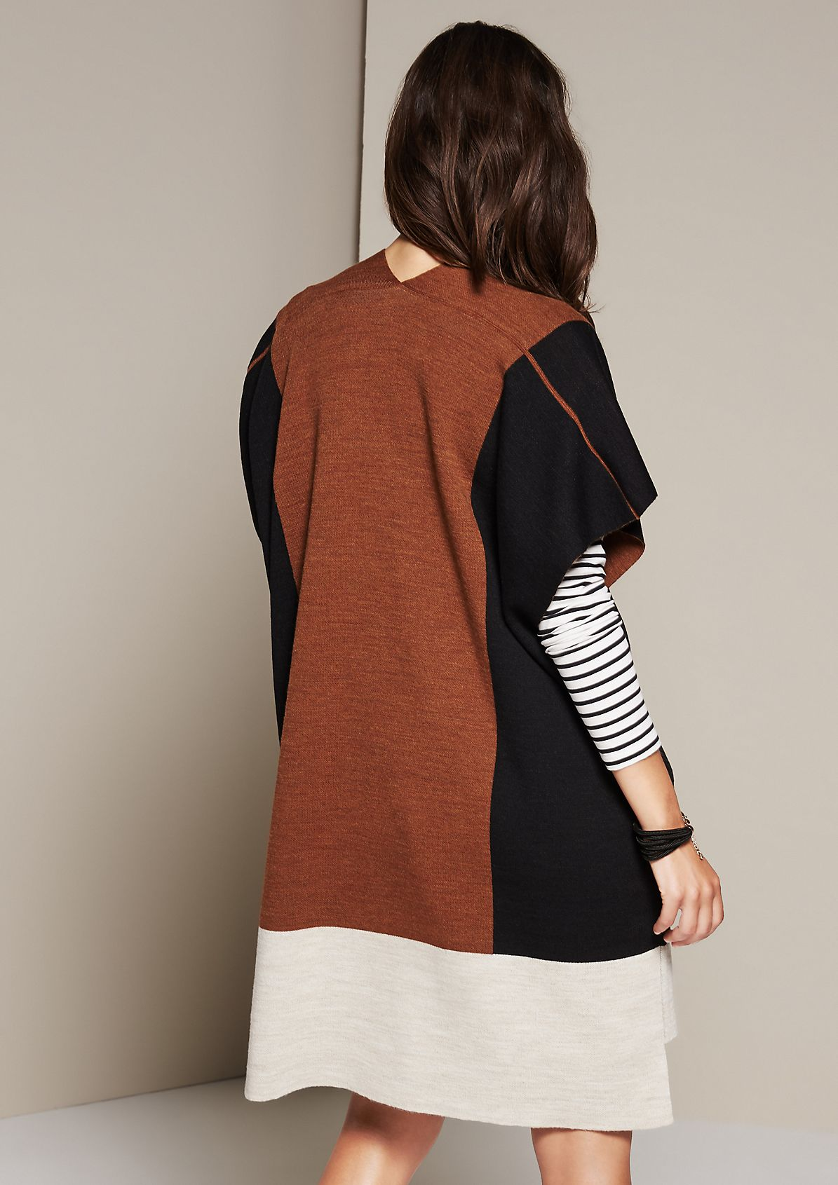 Extravagant short sleeve cardigan with colour blocks from comma