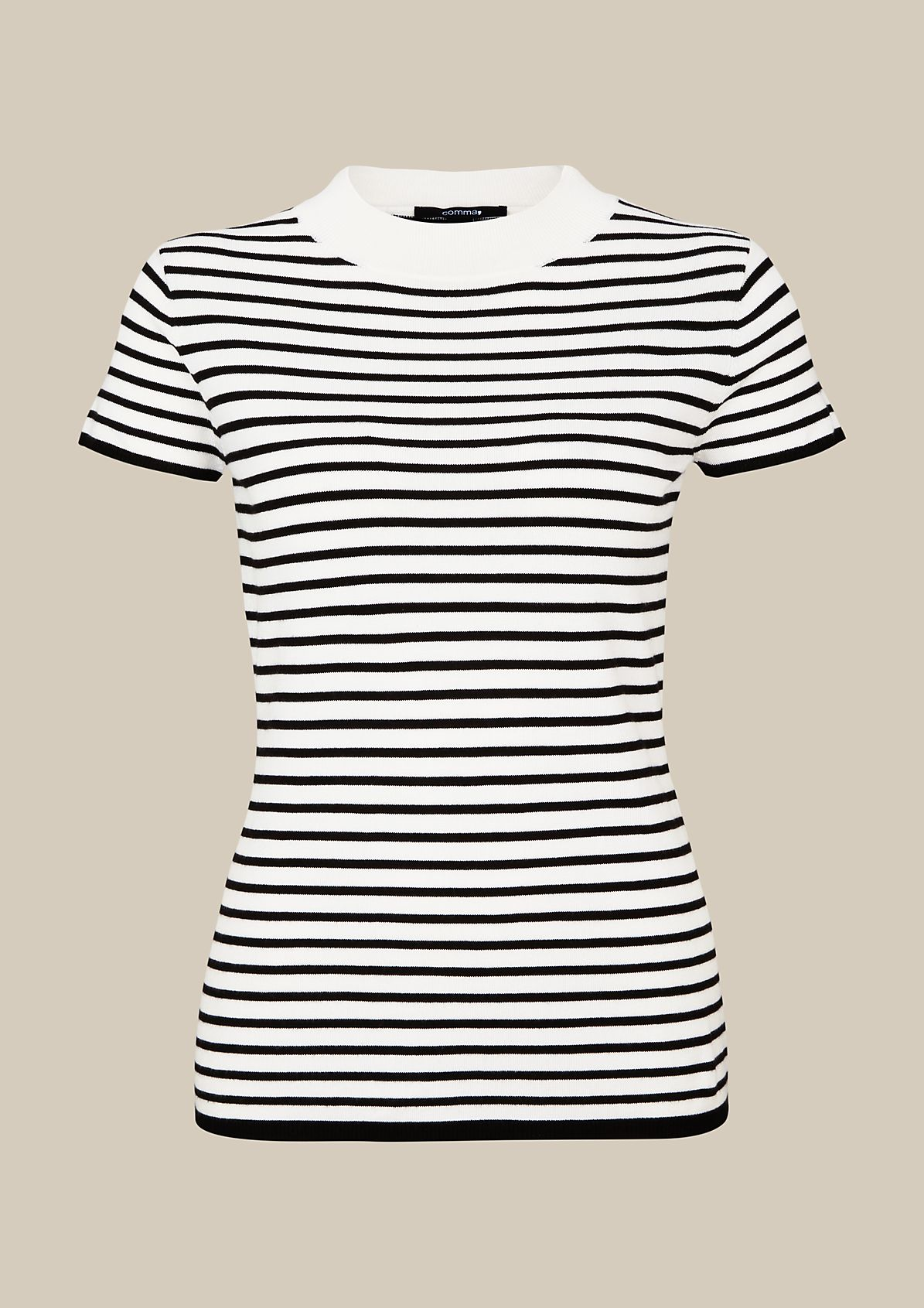 Soft knitted jumper with short arms and a striped pattern from comma