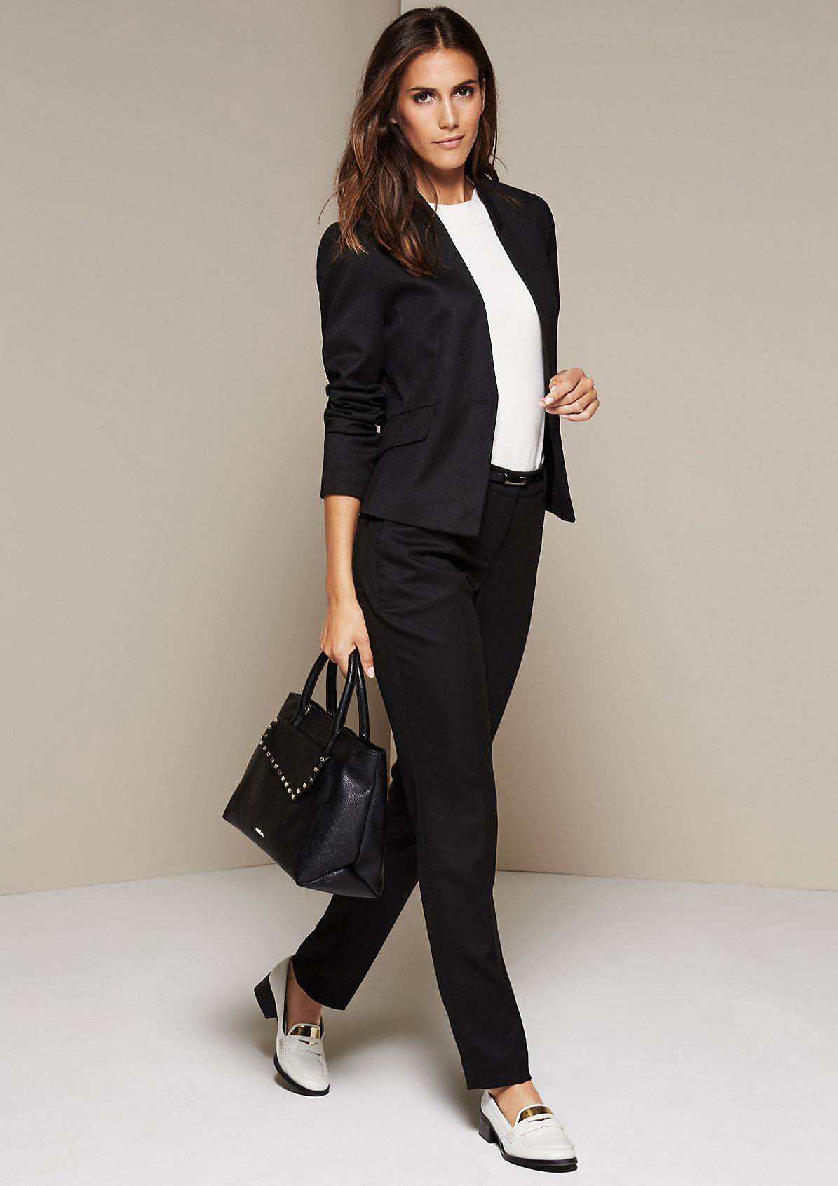Elegant business pants with a fine dobby pattern from s.Oliver