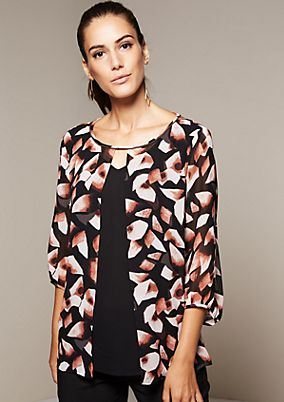 Delicate crêpe blouse with 3/4-length sleeves from s.Oliver