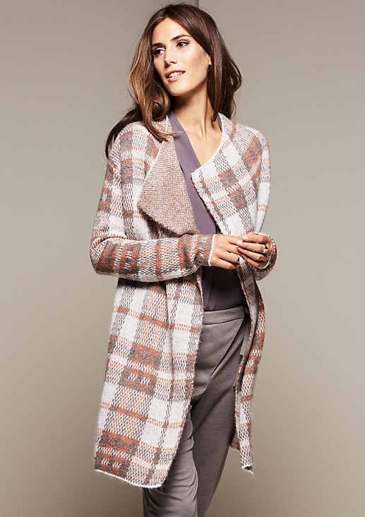 Fluffy long cardigan with sophisticated details from s.Oliver