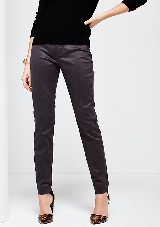 Five-pocket trousers with a matte sheen and beautiful details from s.Oliver