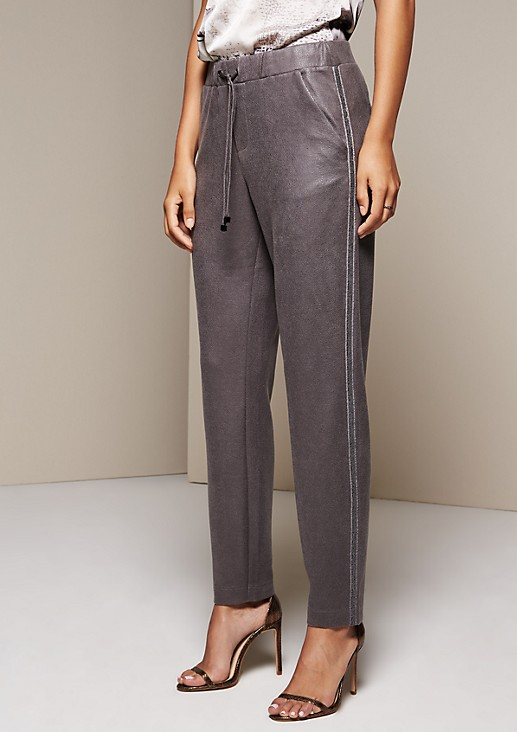 Casual lounge pants in elegant faux leather from comma