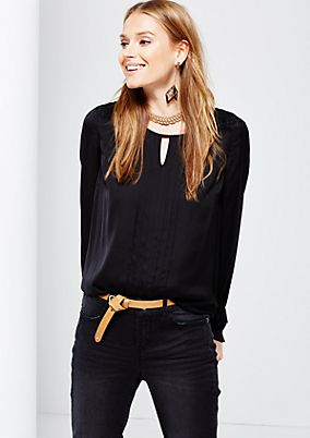 Elegant satin blouse with a fine lace trim from s.Oliver