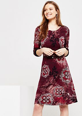 Fine long sleeve dress with a colourful all-over print from comma
