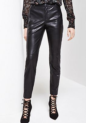Glamorous imitation leather trousers with exciting details from s.Oliver