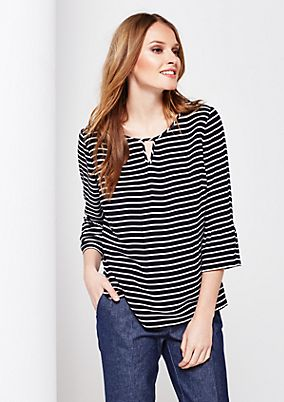 Casual 3/4-sleeve crêpe blouse with stripes from s.Oliver