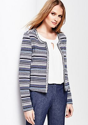 Elegant short blazer with an abstract striped pattern from comma