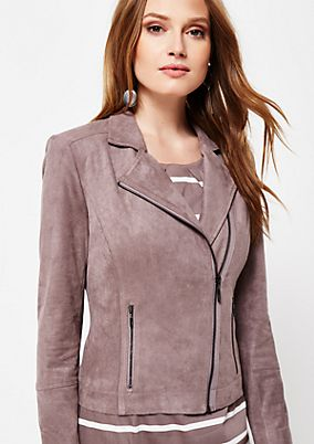 Soft faux suede biker jacket from s.Oliver