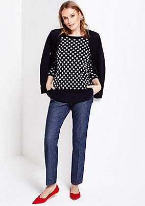 Soft knit jumper with 3/4-length sleeves and a beautiful two-tone pattern from s.Oliver