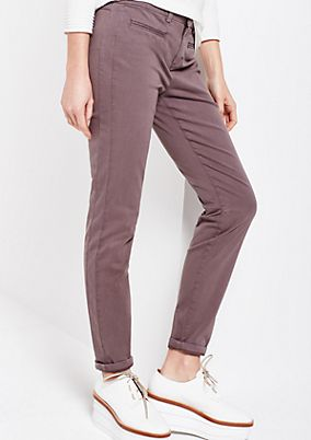 Casual satin trousers with a subtle wash from comma