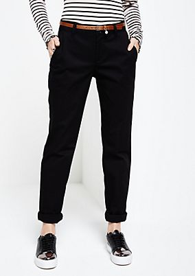 Elegant satin trousers with a narrow belt from s.Oliver