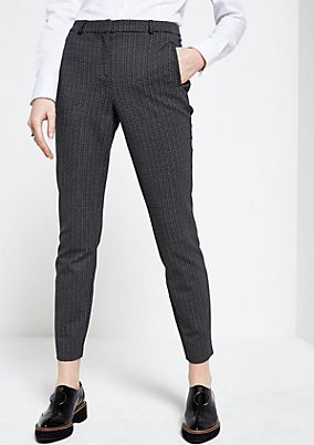 Elegant 7/8-length business trousers with a fine pattern from s.Oliver