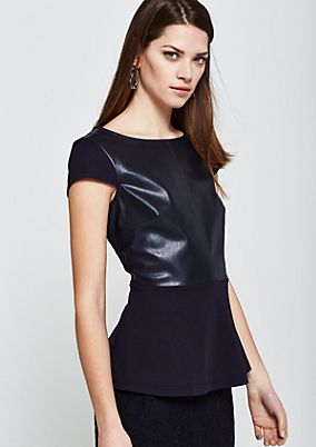 Extravagant short sleeve blouse with faux leather trim from comma