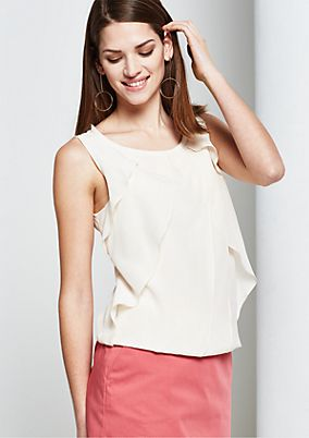 Elegant silk top in a sophisticated mock layer look from s.Oliver