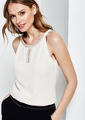 Elegant mixed fabric top from s.Oliver