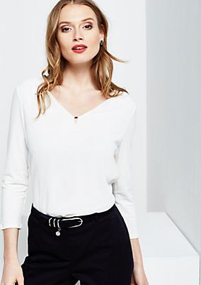 Fine top with 3/4-length sleeves in sophisticated blended fabric from comma