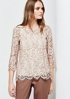 Extravagant top in delicate lace with 3/4-length sleeves from s.Oliver