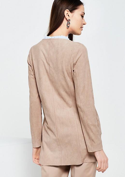 Schöne Fake-Suede Jacke in Stufenoptik