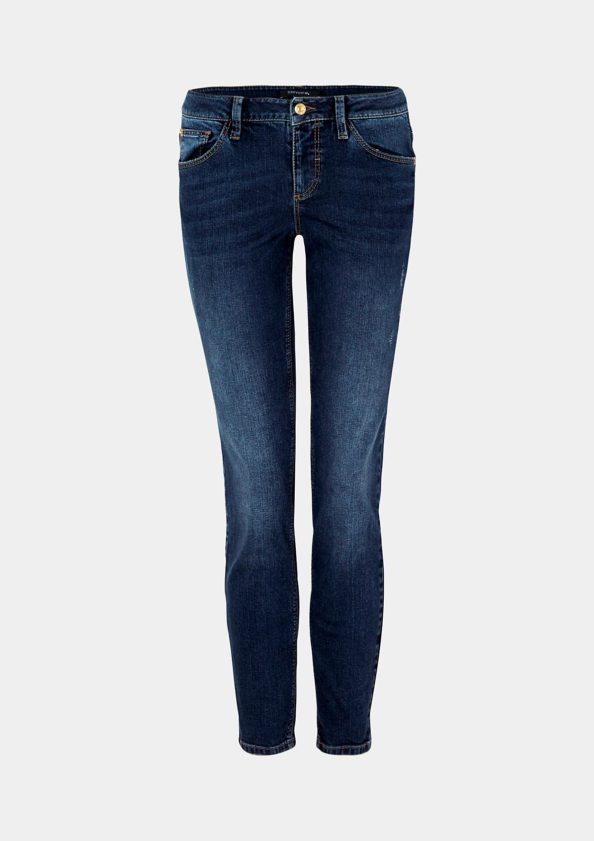 Klassische Jeans in rougher Used-Waschung