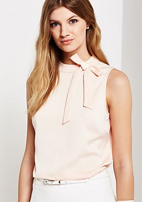 Shiny satin top with detachable bow from s.Oliver