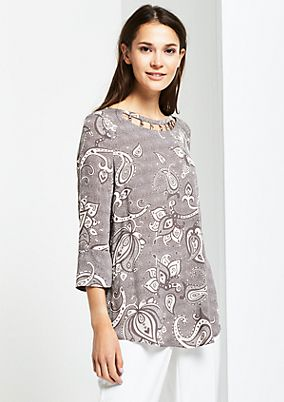 3/4-Arm Bluse mit feinem Alloverprint