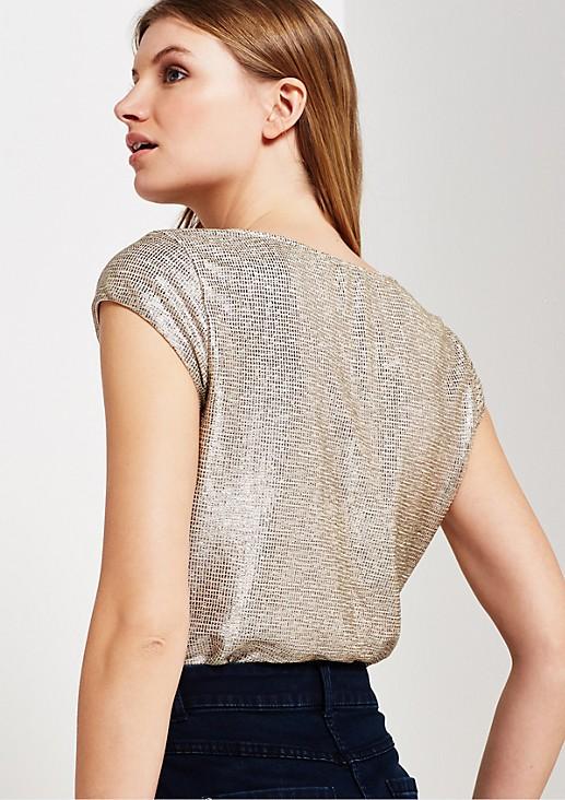 Goldglänzendes Glamourshirt mit feinem Muster