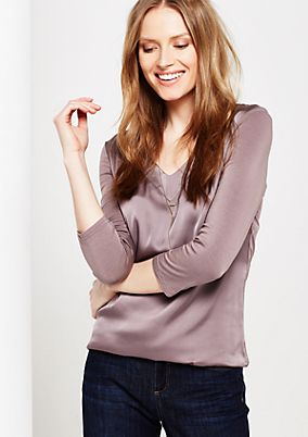 Classic top in a sophisticated mix of fabrics with 3/4-length sleeves from s.Oliver