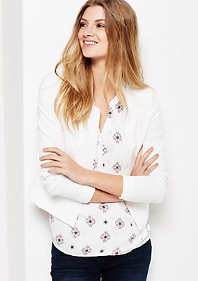 Casual short blazer with fine ribbed pattern from s.Oliver