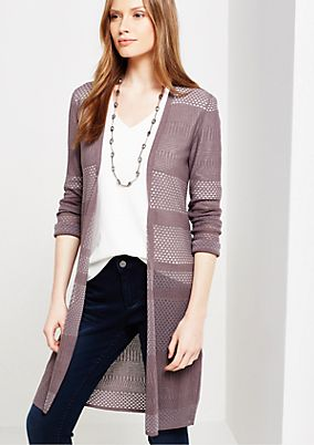 Fine cardigan with a sophisticated pattern mix from s.Oliver