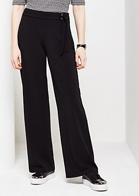 Elegant trousers in lightweight crêpe from s.Oliver