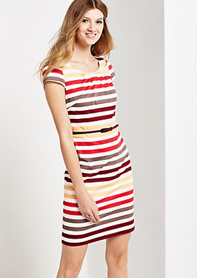 Summery satin dress with colourful striped pattern from s.Oliver