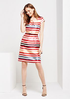 Shiny sheath dress with a colourful striped pattern from comma