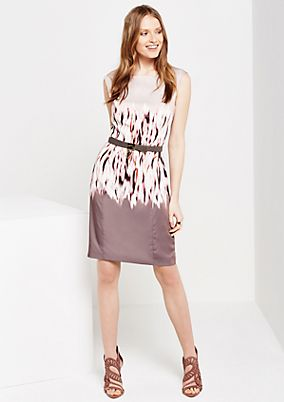 Elegant satin dress with abstract all-over print from s.Oliver