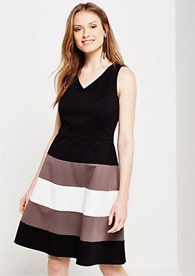 Elegant satin dress with block stripes from s.Oliver