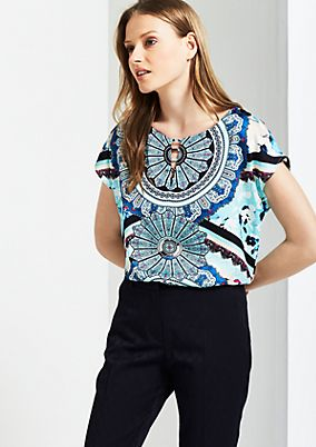 Satin top with a colourful all-over print from s.Oliver