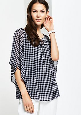 Short sleeve crêpe blouse with a fine all-over pattern from s.Oliver