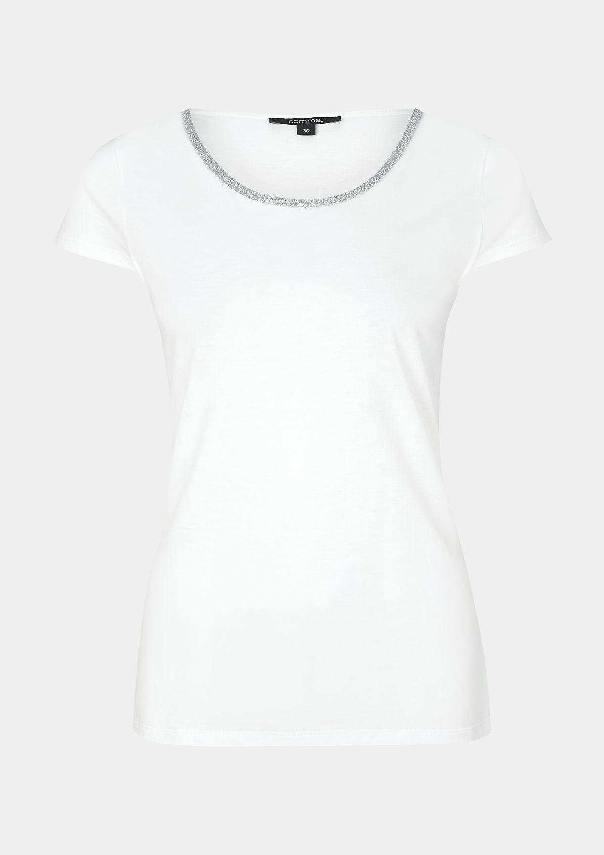 Sommerliches Jerseyshirt mit Glitzerblende