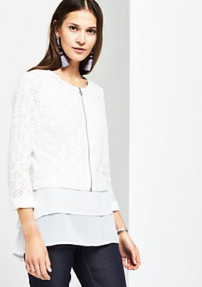 Short casual blazer in delicate lace from s.Oliver