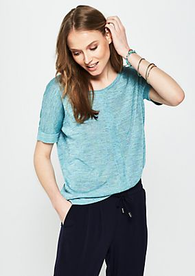 Short sleeve knitted jumper with a decorative colour texture from s.Oliver