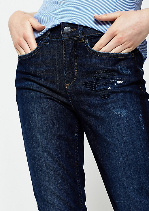Jeans mit glitzerndem Paillettenbesatz
