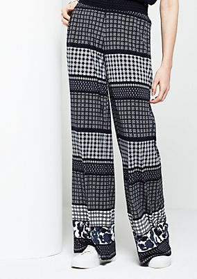 Casual trousers with a mixed pattern from s.Oliver