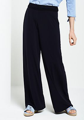 Jersey casual trousers with lace details from s.Oliver